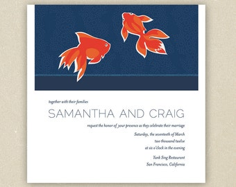 Wedding Invitations: Midnight Water - Navy Blue and Orange Japanese Goldfish