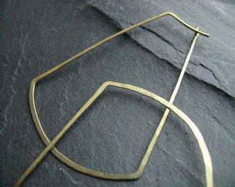 Khemet | tribal oversized rectangular hoop earrings, large geometric hoops in hammered  brass, Egyptian inspired statement earrings