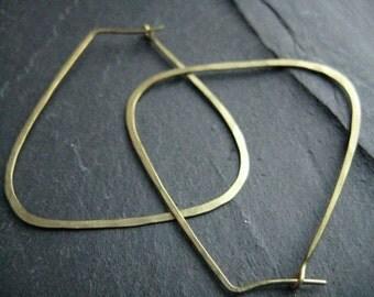Goddess Hathor, oversized geometric hoop earrings, Egyptian inspired tribal ethnic hoops, triangle hoops in golden hammered  brass