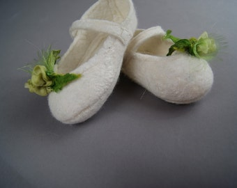 Hand Felted baby booties a Sugarplum Original by J. Gauger