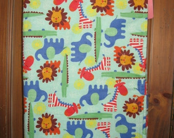 Baby Receiving Blanket Lions, Elephants, Giraffes and Alligators, Jungle Animal, Dogs or Patriotic
