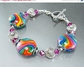HOLIDAY SALE, Oh Happy Day. rainbow Lampwork and Bali sterling silver, Beaded, TPMB, Free Shipping