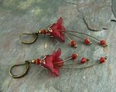 Burgundy lucite flower beaded earrings, Johnna, TPMB