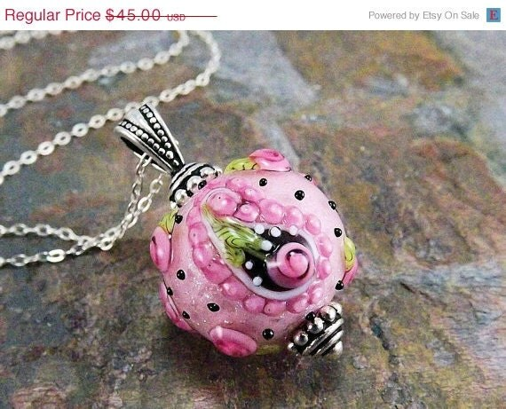 30% OFF SALE Pink pendant,  lampwork bead pendant, sterling silver necklace, paisley, Bollywood, beaded necklace, Fancy Pants.