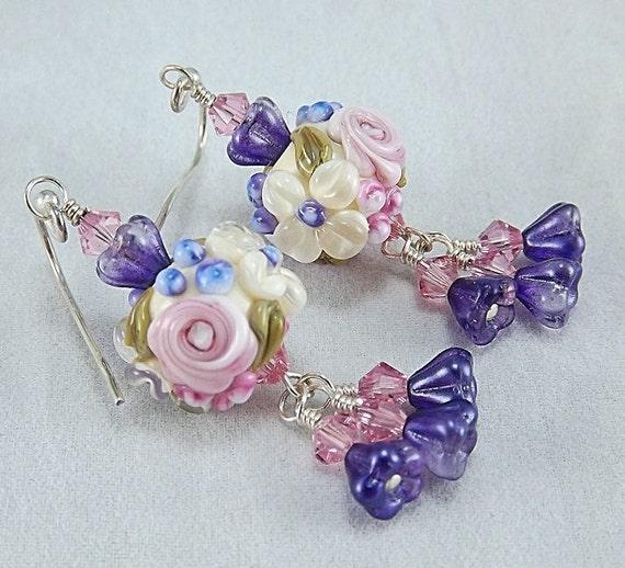 Reserved, Purple and pink earrings, lampwork beaded earrings, sterling silver and crystal earrings, Bunch of Violets
