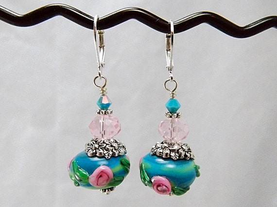Turquoise and Pink Lampwork Beaded Earrings, Ring Around the Rosies, TPMB