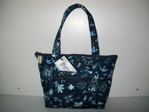 Quilted Fabric Handbag Navy with Light Blue Design