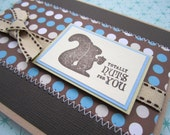Totally Nuts for You - Love/ Anniversary Card in Brown and Blue Polka Dot -- C687