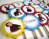 Curious George Cupcake Toppers -- Set of 12