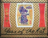 ACEO Original Mixed Media Collage Year of the Rat, Chinese Horoscope