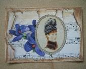 Original ACEO  Altered Art Collage Victorian - Violet
