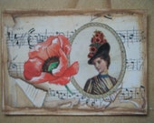 Original ACEO  Altered Art Collage Victorian - Poppy