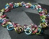 Over The Rainbow Bracelet, Shaggy Loops in Aluminum Rings