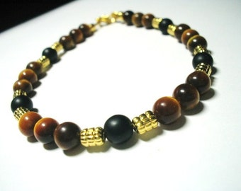 Infinity Tiger's Eye and Black Onyx Bracelet
