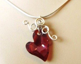 Devotion, Swarovski Crystal Heart on Sterling Silver