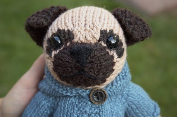 Knitted Pug Pattern : Pug with Anorak Knitting Pattern by fuzzymitten on Etsy