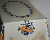 1940s German Linen Tablecloth - Golden Yellow and Blue Floral On Eggshell