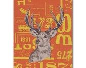 Deer with Antlers Panel Painting, Orange