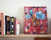Sale 70% Off - Flower Art Print on Wood, Back Porch Bouquet Blue BOX PRINT reproduction