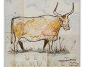 Farm Cow in Pasture Wall DG MINI Art Print on Wood