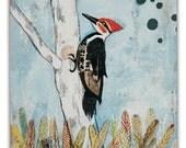 Woodpecker in Tree Small Art Print on Wood
