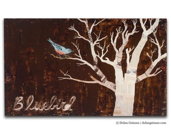 Bluebird Country Cottage Wood Print