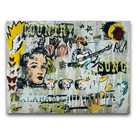 Country Western Decor / Jukebox at the Honky Tonk Art Print on Wood / 18 x 24