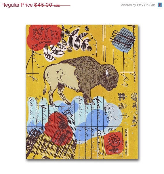 American Buffalo Art, Panel Painting, Original Screenprint on Wood