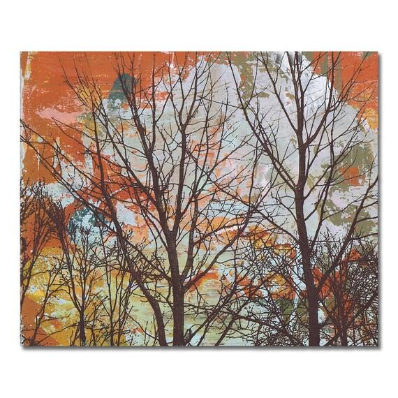 Unisex Gift Under 50, Tree Panel Painting Original Mixed Media on Wood