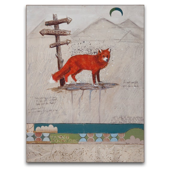 Mountain Landscape Painting / The Fox and the Moon Art Print on Wood