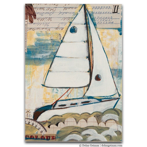 Small Boat Art Print on Wood, DG MINI Sailboat East