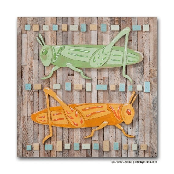 SALE 75% off  Grasshoppers Small Art Print on Wood, Nature Trail: Grasshoppers DG MINI by Dolan Geiman