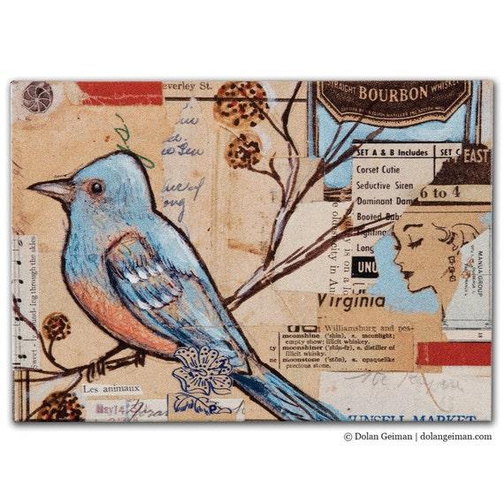 Sing-a-long Bluebird DG MINI Small Art Print on Wood Block