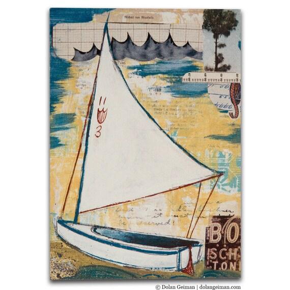 Sailor Sailing Gift / Sailboat Illustration Print on Wood