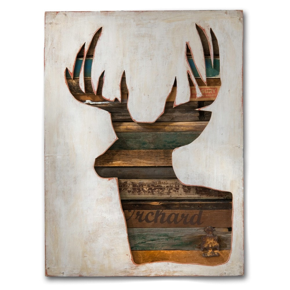 Wall Art Of Deer : Modern rustic original deer art virginia den collection no