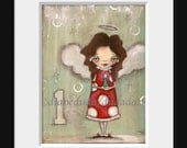 Print Set - Three Christmas Angel Prints from my original Folk ARt Paintings