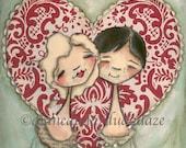 Print of my original Folk Art Valentine Painting - One Heart -8 x 8