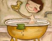 Print of my original  painting - Bathtime Fun -