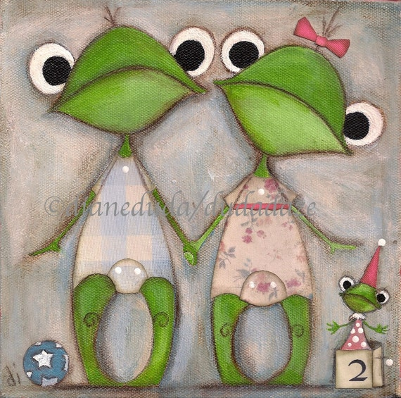 Original Folk Art Childrens Painting- Frog Twins - Better than One