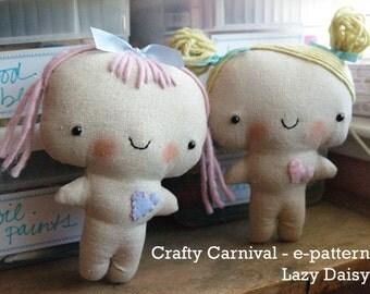 e pattern cute little twin dolls