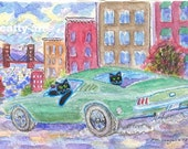 ORIGINAL FOLK ART, Two Bullitt Black Cats in 68 Mustang, Pacific Heights, San Francisco, D M Laughlin