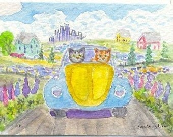 Original Folk Art ACEO, Two Tabby Cats in a Bug Bombing around the Countryside with Lupines, by DM Laughlin