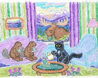 ORIGINAL FOLK ART, A Black Cat with Beavers and a Moose at TeaTime near Lake Louise, by D M Laughlin