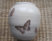 Beautiful Cream and Brown Butterfly and Moth Vase in Stoneware by Sweetpea cottage pottery.com