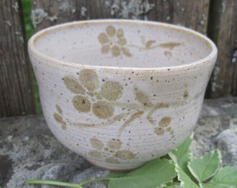 Wildwood Tea Bowl by Sweetpea Cottage Pottery cream and brown use hot or cold