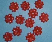 15 pieces vintage celluloid red flower cabochons 9mm - f1973