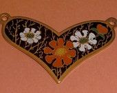 3 pcs. vintage gold tone floral heart pendants 30x21mm - f2154