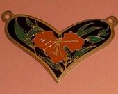 3 pcs. vintage gold tone floral heart pendants 30x21mm - f2155