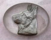 2 pcs. vintage lucite reverse intaglio silver german shepherd dog cabochon 20x15mm - f2551
