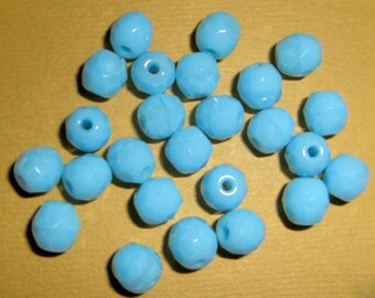 100 pcs. vintage glass opaque blue faceted beads 6mm - f465